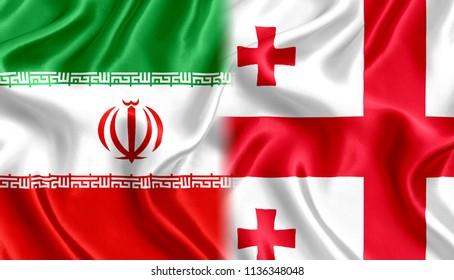 Flag of Iran and Georgia silk
