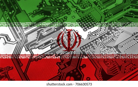 Flag of Iran, pictured on a chip