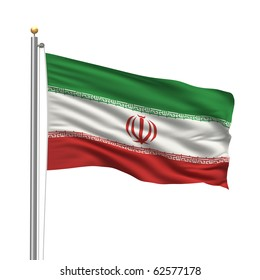 Flag of Iran with flag pole waving in the wind over white background