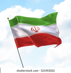Flag of Iran Raised Up in The Sky