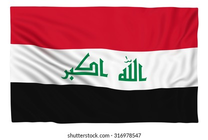 Flag of Iraq , isolated on white.