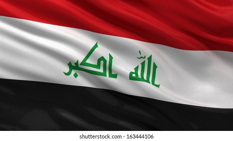 Flag of Iraq waving in the wind