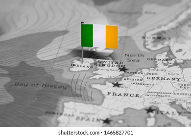 The Flag of Ireland in the World Map