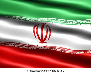 Flag of the Islamic Republic of Iran, computer generated illustration with silky appearance and waves