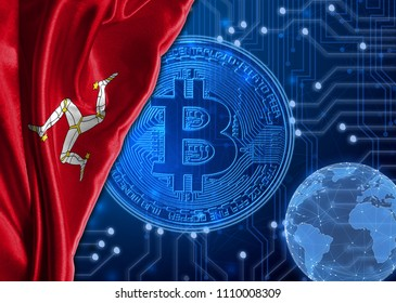 Flag of Isle Of Man against the background bitcoin.