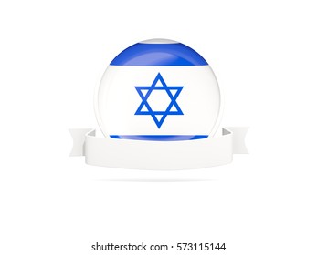 Flag of israel with empty banner  isolated on white. 3D illustration