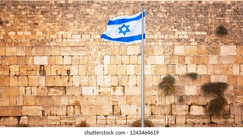 Flag of Israel in front of the Western Wall