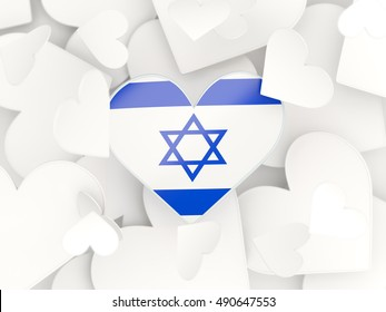 Flag of israel, heart shaped stickers background. 3D illustration