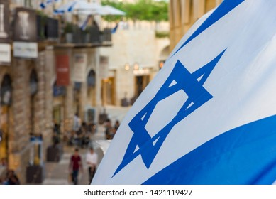 Flag of Israel Flag of Israel near the old city.
