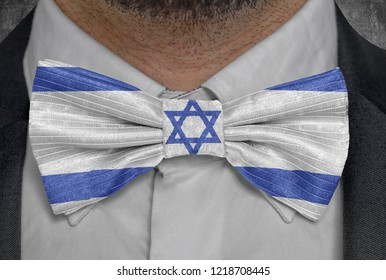 Flag of Israel on bowtie business man suit