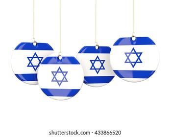 Flag of israel, round labels on white. 3D illustration