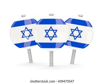 Flag of israel, round pins on white. 3D illustration