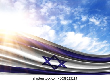 flag of Israel in the sun