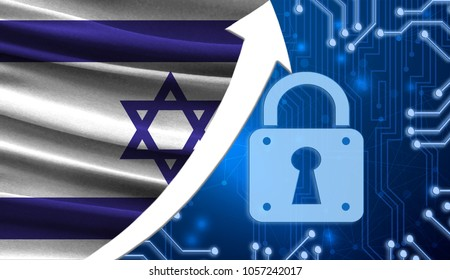 The flag of Israel together with the blue cryptogram and the up arrow with the lock. This concept shows the increased level of security of the crypto currency and blockchain wallets.