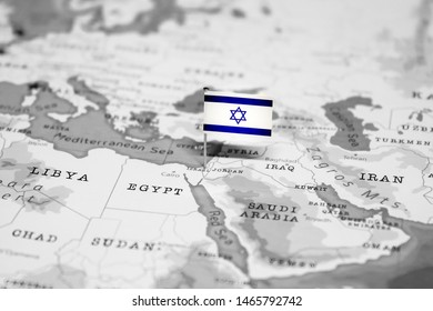 The Flag of Israel in the World Map