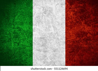 flag of Italia or Italian banner on scratched vintage texture