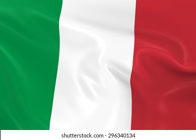 Flag of Italy - 3D Render of the Italian Flag with Silky Reflective Texture