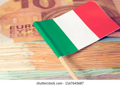 Flag of Italy and euro bills