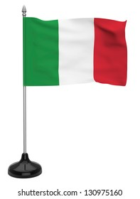 Flag of Italy hanging on the flagpole on a white background