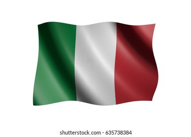 Flag of Italy isolated on white, 3d illustration