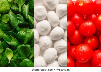 Flag of Italy made of basel leaves, mozzarella cheese, and cherry tomatoes. Flat lay. Food concept.