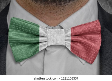 Flag of Italy on bowtie business man suit