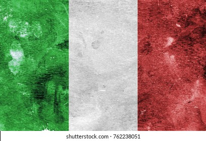 Flag of Italy on a paint stained background