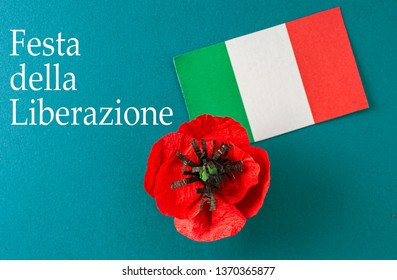 flag of italy and poppy flower text holiday Liberation Day in italian