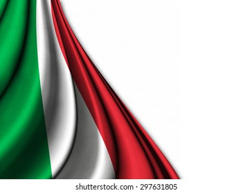 Flag of Italy  in silk gently folded on a white background to make room for your creativity