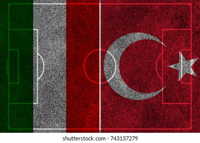 flag of the Italy and Turkey painted on football
