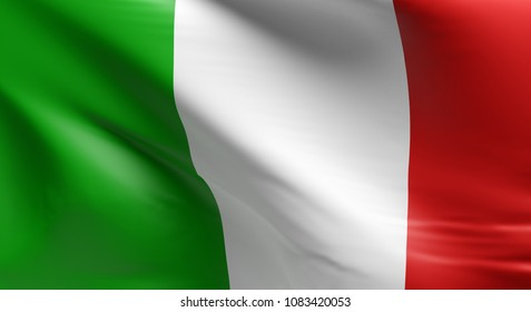 Flag of Italy using as background, 3d rendering