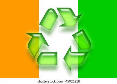 Flag of Ivory Coast, national country symbol illustration eco recycling