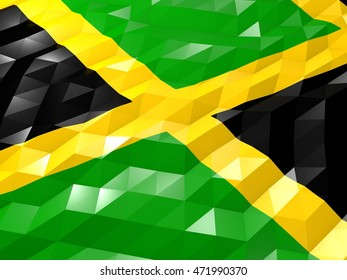 Flag of Jamaica 3D Wallpaper Illustration, National Symbol, Low Polygonal Glossy Origami Style