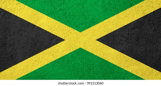 flag of Jamaica or banner on rough pattern background