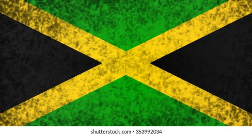 Flag of Jamaica in grunge style.