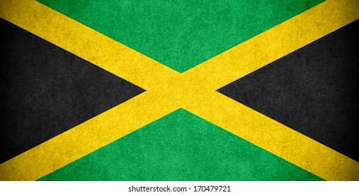 flag of Jamaica or Jamaican banner on paper rough pattern texture