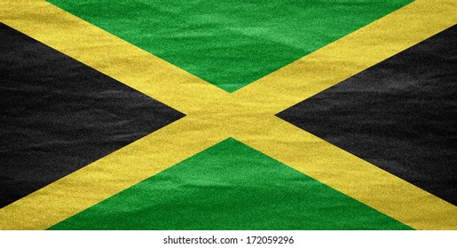 flag of Jamaica or Jamaican banner on canvas texture