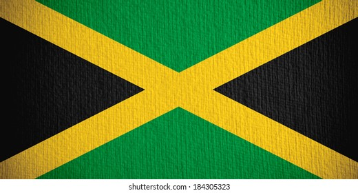flag of Jamaica or Jamaican banner on paper background