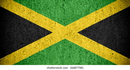 flag of Jamaica or Jamaican banner on rough pattern texture