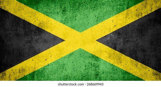 flag of Jamaica or Jamaican banner on rough pattern texture background