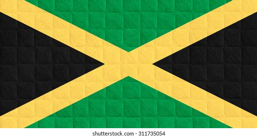 flag of Jamaica or Jamaican banner on check pattern background