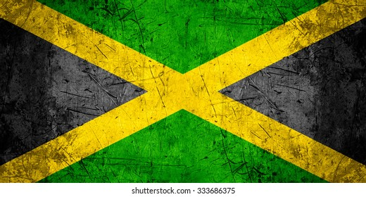 flag of Jamaica or Jamaican banner on rough pattern metal background