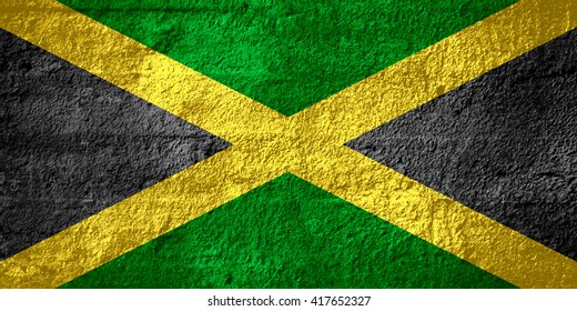 flag of Jamaica or Jamaican banner on rough texture