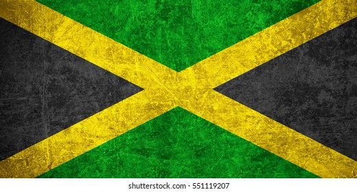 flag of Jamaica or Jamaican banner on scratched vintage texture