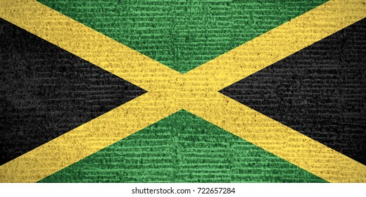 flag of Jamaica or Jamaican banner on row pattern texture