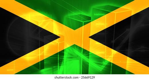 Flag of Jamaica, national country symbol illustration