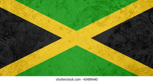 Flag of Jamaica, national country symbol illustration rough grunge texture
