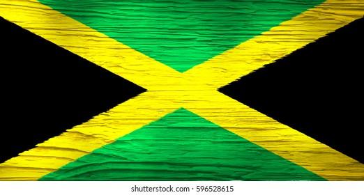 Flag of Jamaica on Concrete