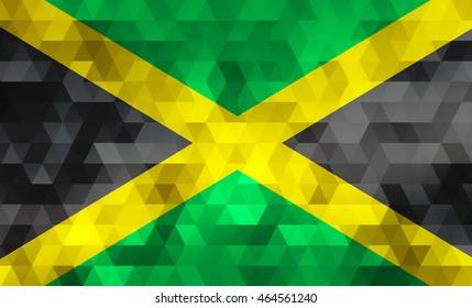 Flag of Jamaica on mosaic background