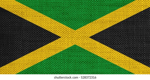 Flag of Jamaica on old linen
